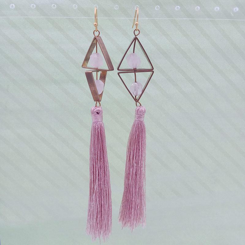 Wholesale Handmade Copper Rose Quartz Pink Tassel Earrings