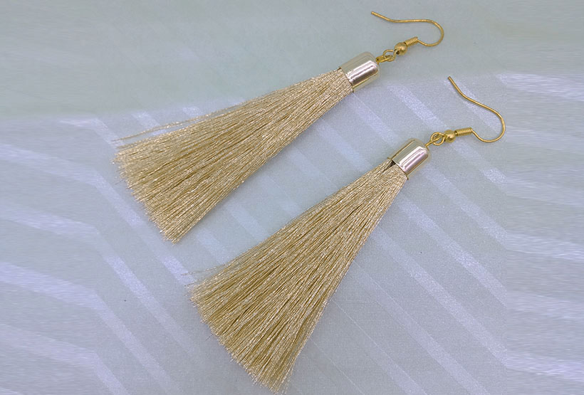 Handmade Gold Tassel Earrings
