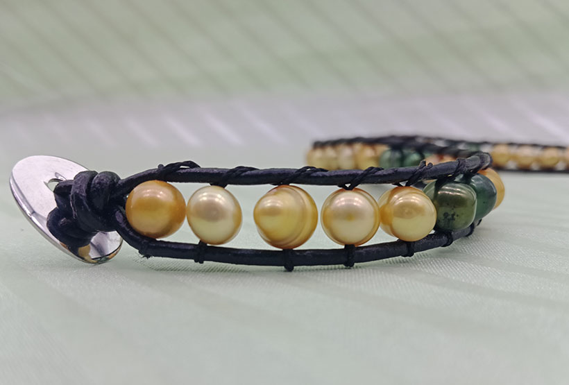 Fresh Water Pearl Beads Leather Woven Wrap Bracelet