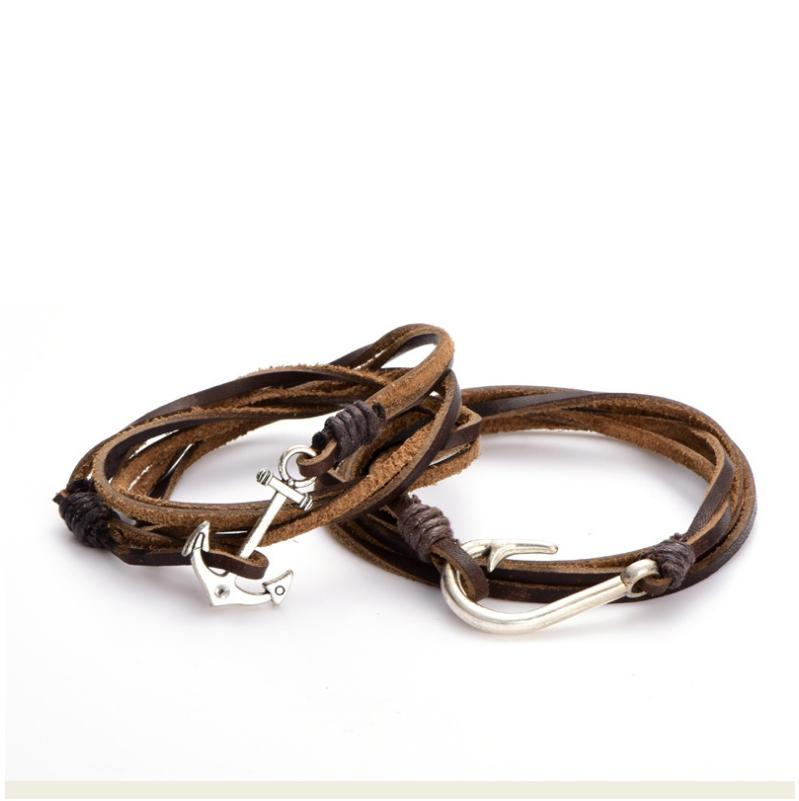Wholesale Handmade Leather Wrap Fish Hook Or Anchor Charms Bracelet