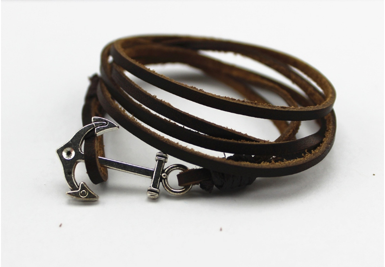 Leather Wrap Fish Hook Or Anchor Charms Bracelet
