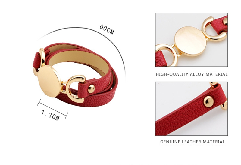 Genuine Leather Wrap Bracelet With Alloy Charms