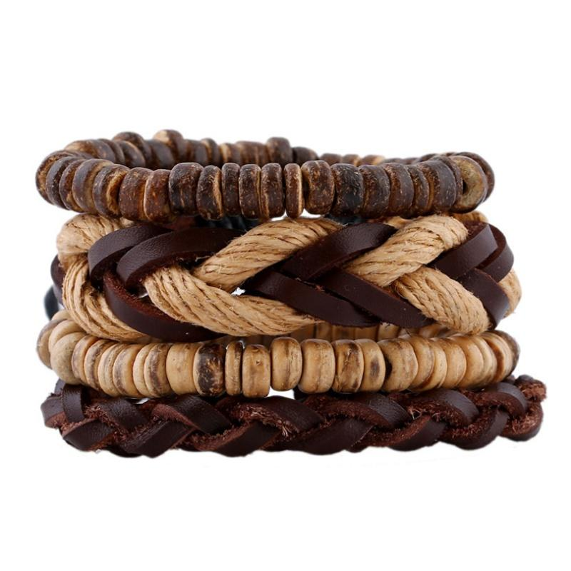 Wholesale Handmade Vintage Leather Wrap Bracelet Set