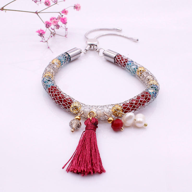 Crystal Beads Copper Cover Bracelet With Pearl