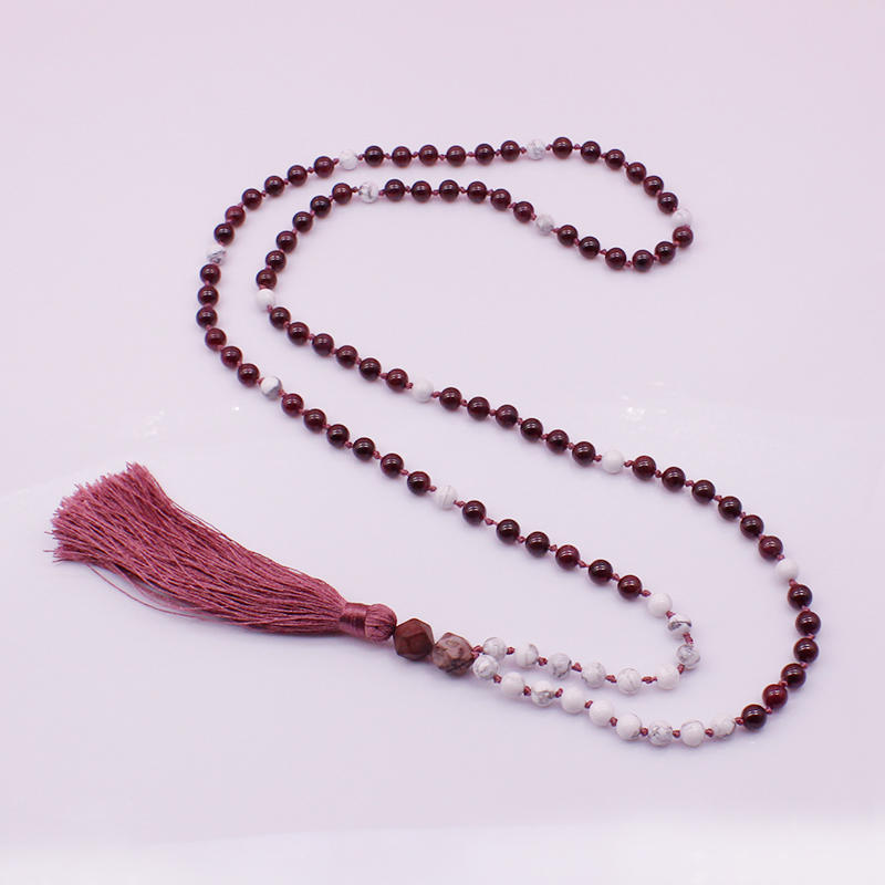 Garnet Beads Mala Necklace Yoga Necklace
