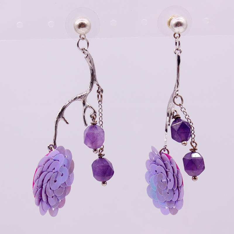 Amethyst Beads Drop Earrings February Birthstone Earrings