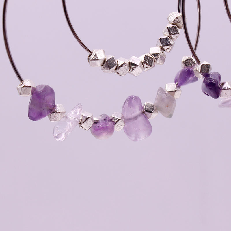 Amethyst Chip Double Hoop Earrings February Birthstone Hoop Earrings