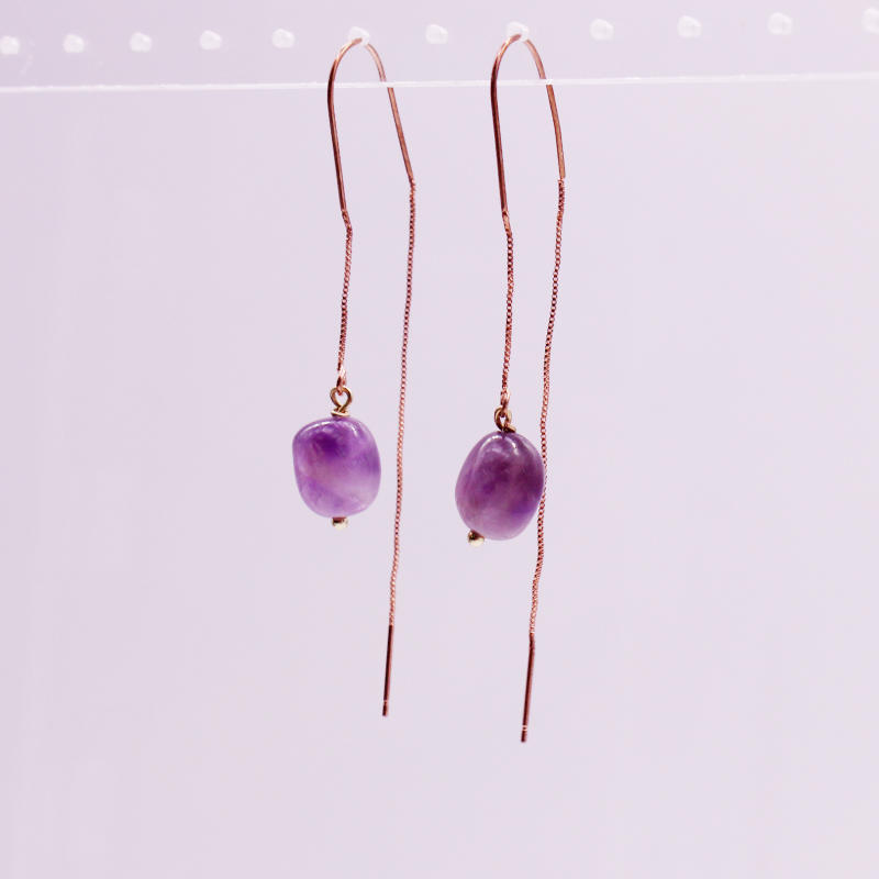 Amethyst Bead Ear Thread Earrings February Birthstone Earrings