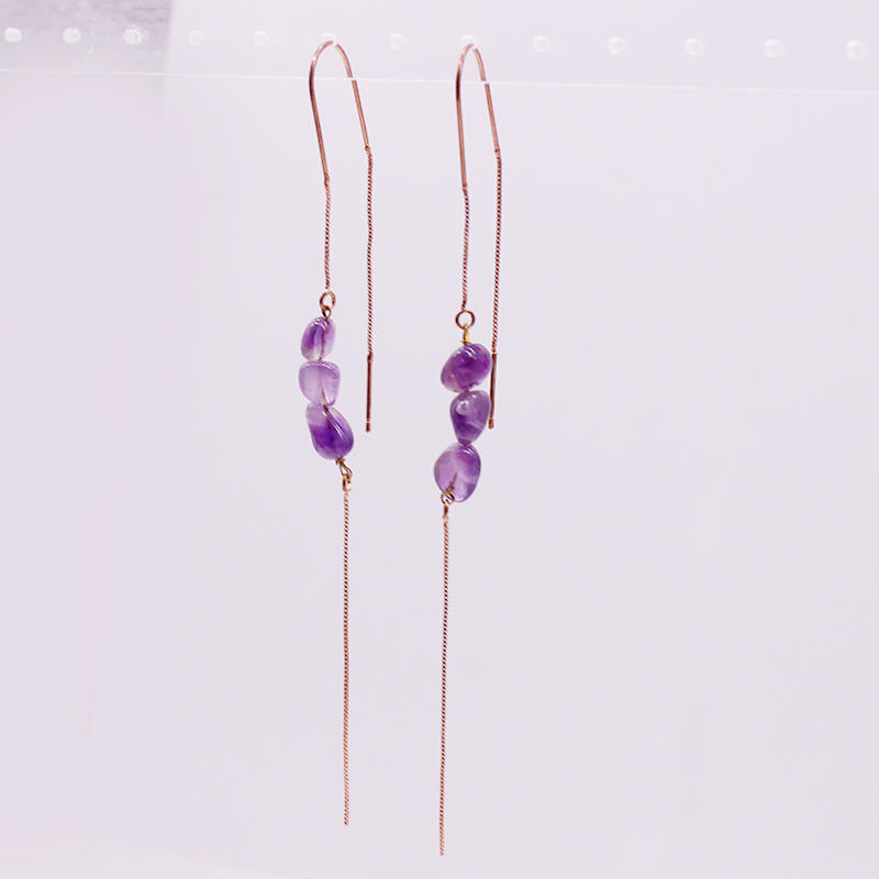 Amethyst Chip Ear Thread Earrings February Birthstone Earrings