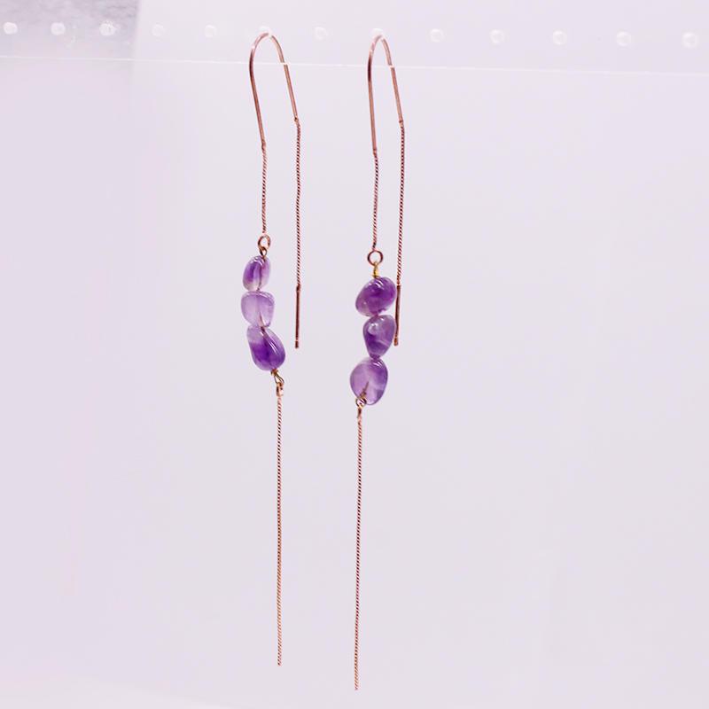 Amethyst Chip Ear Thread Earrings February Birthstone Earrings