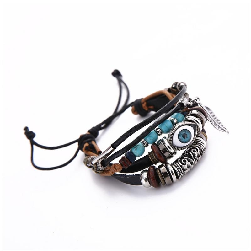 Handmade Leather Wrap Bracelet Evil Eye Charms Wrap Bracelet