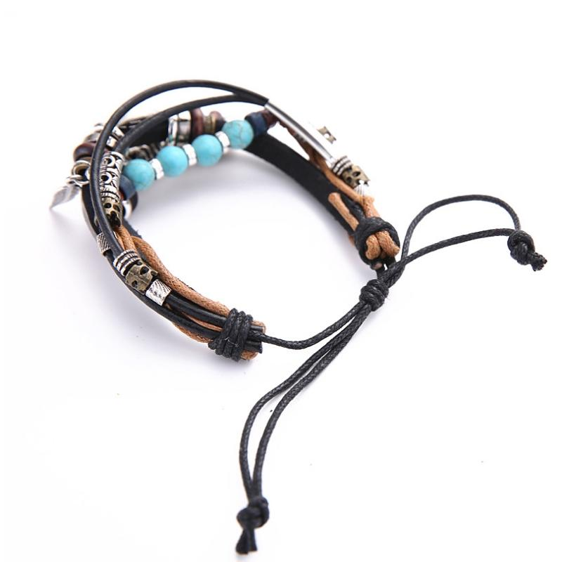Handmade Leather Wrap Bracelet Evil Eye Charms Wrap Bracelet