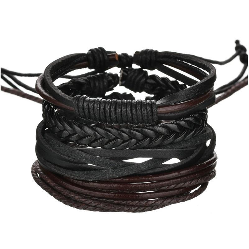Handmade Leather Woven Wrap Bracelet Sets