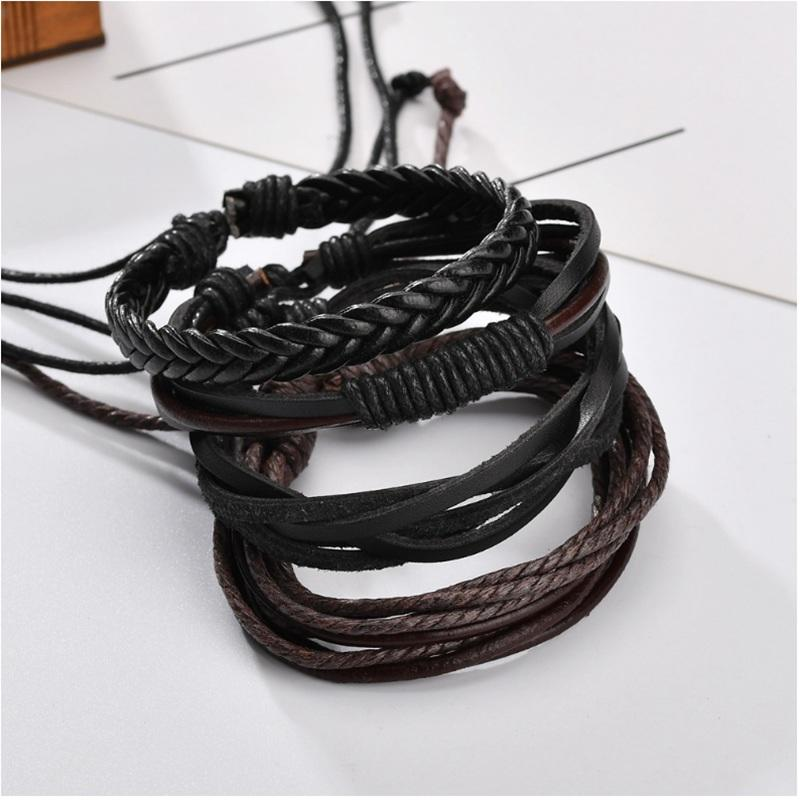 Handmade Leather Woven Wrap Bracelet Sets