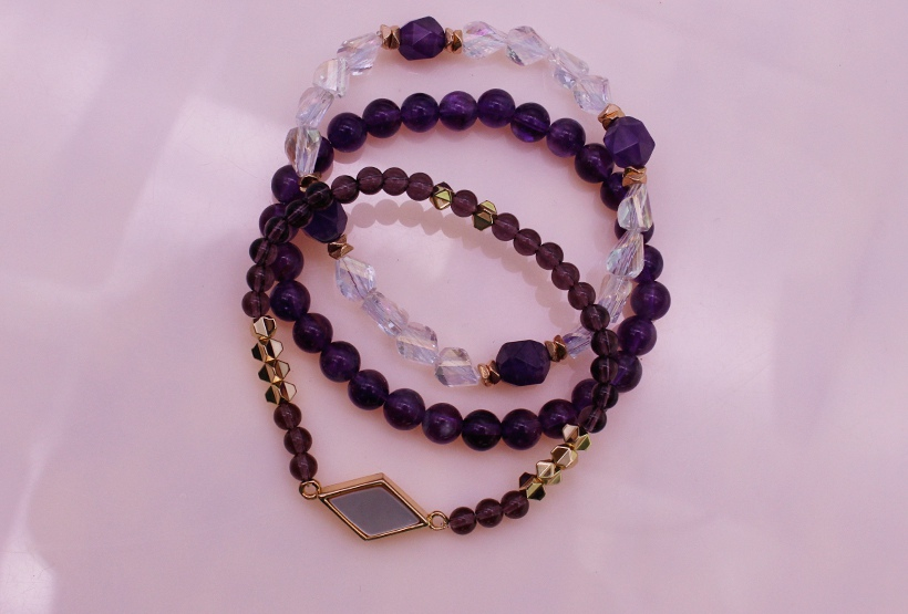 Amethyst Beads Bracelets Set February Birthstone Beads Bracelets Set