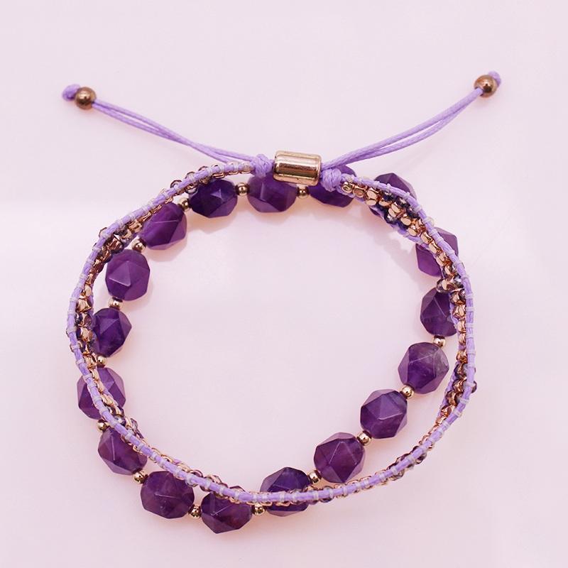 Amethyst And Copper Bead Bracelet Set February Birthstone Jewelry