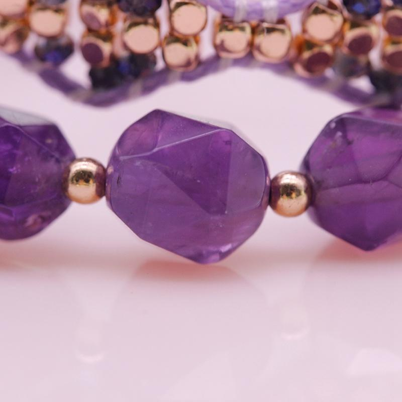 Amethyst And Copper Bead Bracelet Set February Birthstone Jewelry