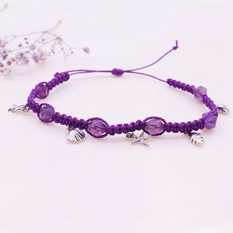 Amethyst Bead Cotton Thread Woven Bracelet February Birthstone Jewelry