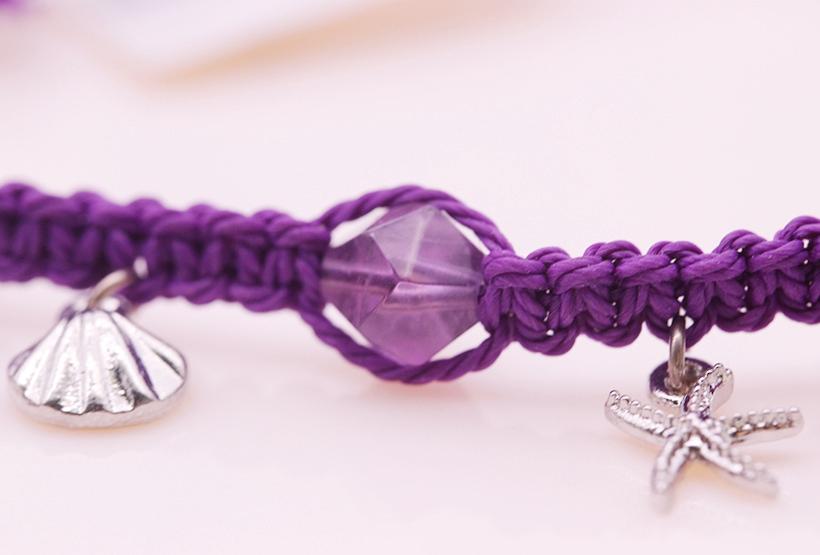 Amethyst Bead Cotton Thread Woven Bracelet February Birthstone Jewelry