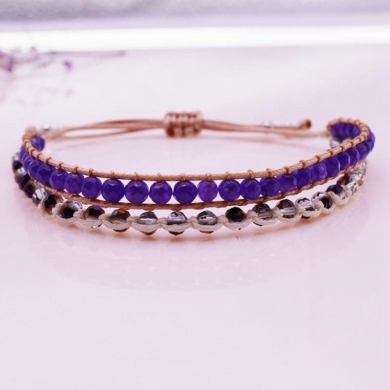 Amethyst And Crystal Beads Bracelet February Birthstone Jewelry