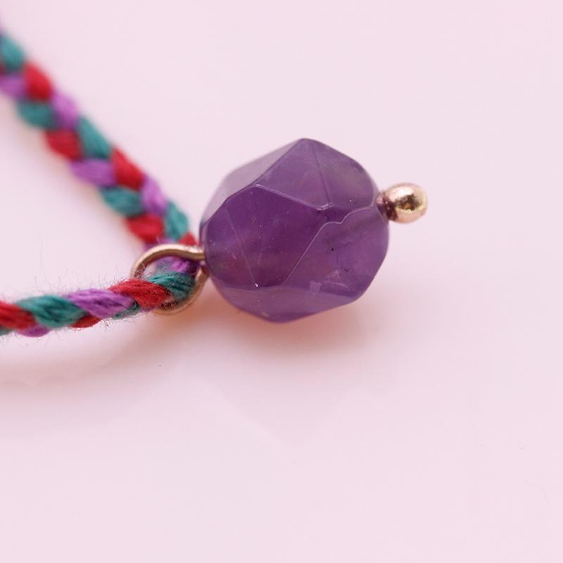 Amethyst Bead Charms Cotton Thread Bracelet February Birthstone Jewelry