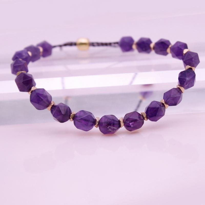 Amethyst Section Bead Bracelet February Birthstone Bracelet