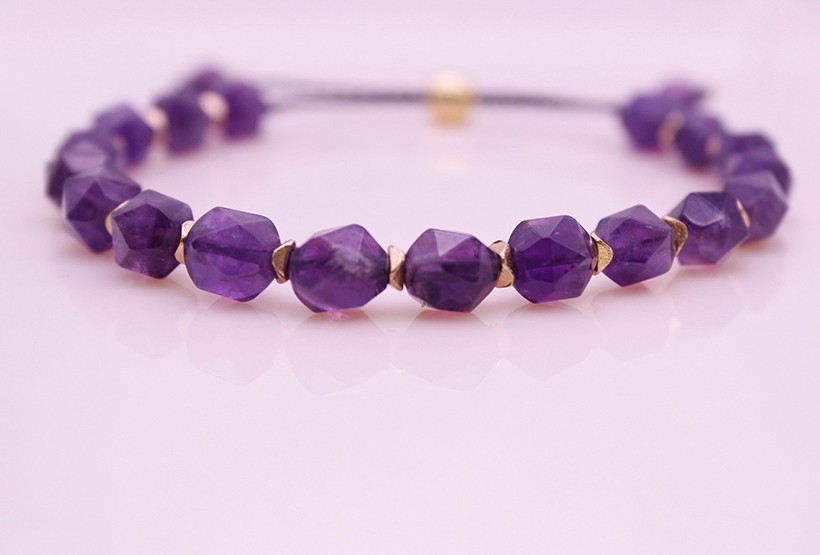 Amethyst Section Bead Bracelet February Birthstone Bracelet