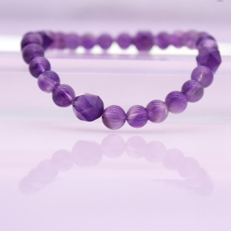 Amethyst Beads Stretch Bracelet February Birthstone Jewelry