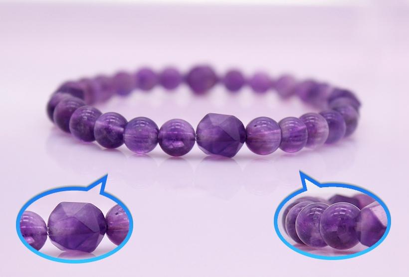 Amethyst Beads Stretch Bracelet February Birthstone Jewelry