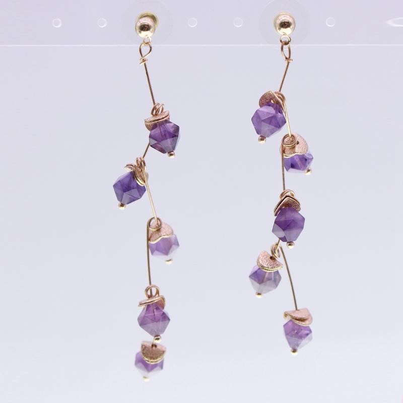Amethyst Beads Earrings February Birthstone Jewelry