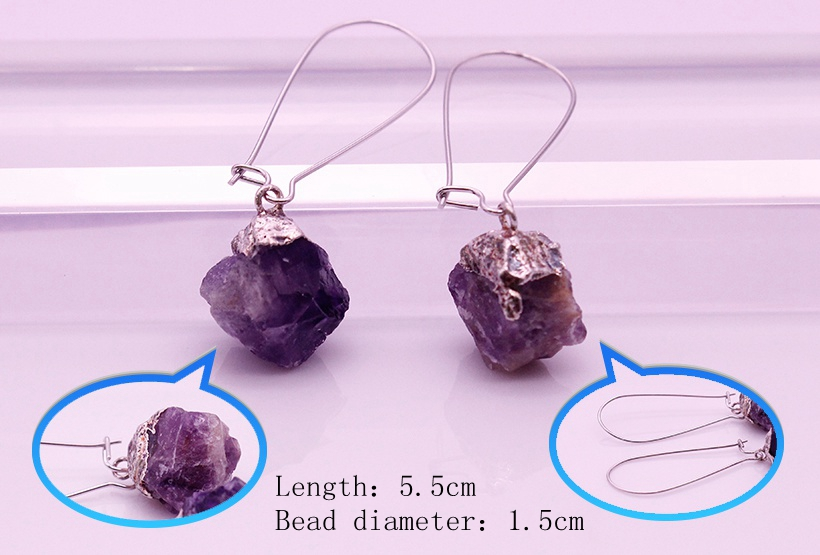 Raw Amethyst Dangle Earrings February Birthstone Jewelry
