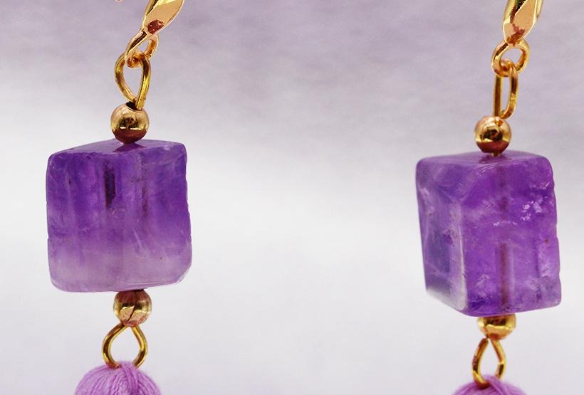 Amethyst Square Bead Tassel Earrings February Birthstone Jewelry