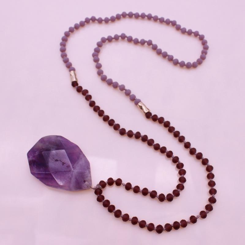 Amethyst Pendant Crystal Beads Necklace February Birthstone jewelry