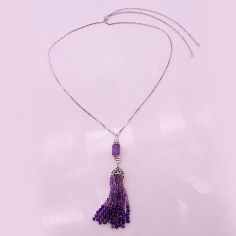 Amethyst Pendant Tassel Necklace February Birthstone Jewelry