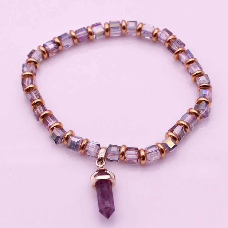 Amethyst Point Charms Crystal Bead Bracelet February Birthstone Jewelry