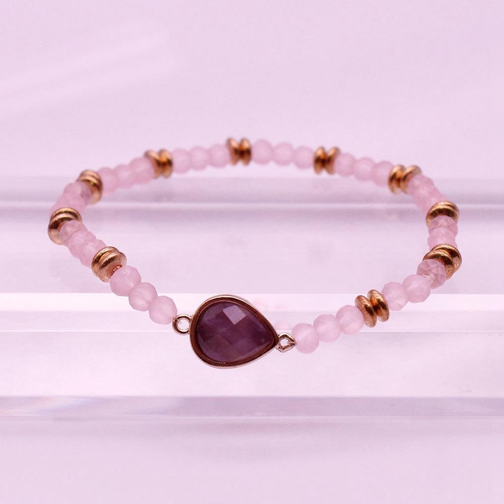 Amethyst Crystal Beads Dainty Bracelet February Birthstone Jewelry