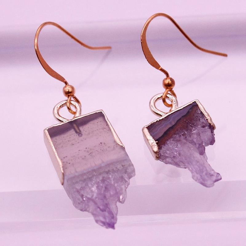 Raw Amethyst Drop Earrings February Birthstone Jewelry