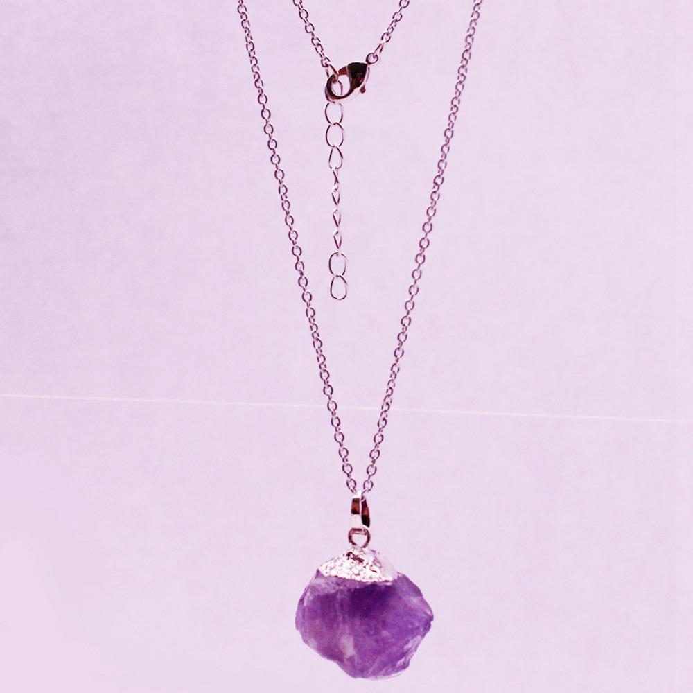 Raw Amethyst Pendant Necklace February Birthstone Jewelry
