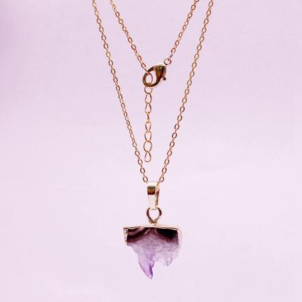 Raw Amethyst Slice Pendant Necklace February Birthstone Jewelry