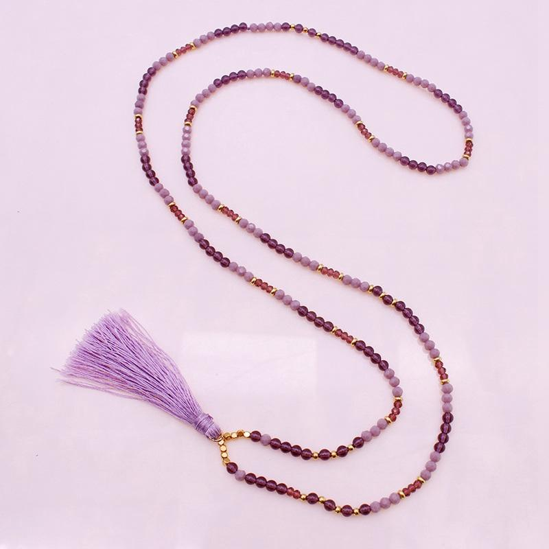 Long Amethyst And Crystal Beads Tassel Necklace February Birthstone Jewelry
