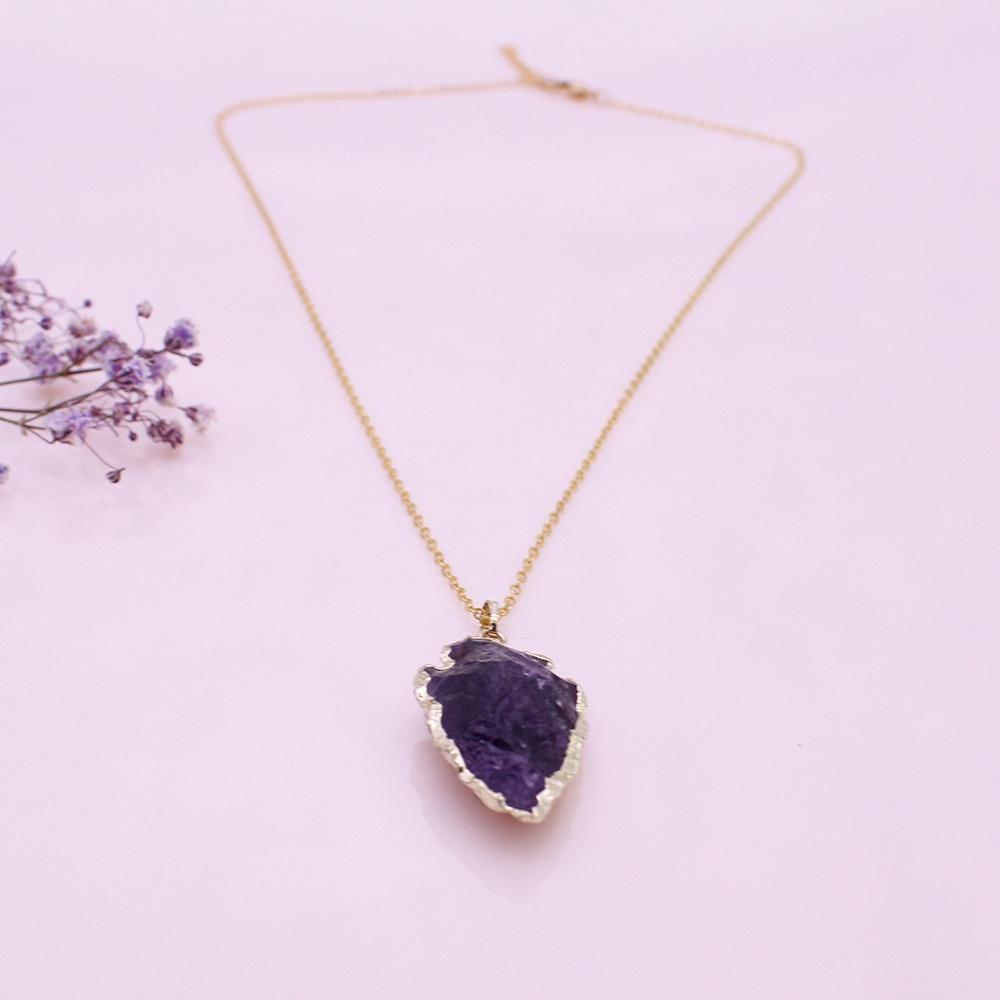 Raw Amethyst Pendant Gold Plated Necklace February Birthstone Jewelry