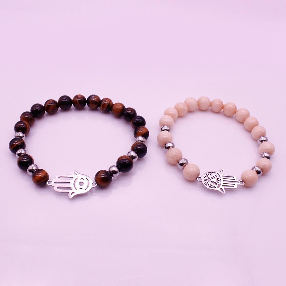 Tiger Eyes Hamsa Hand Charms Bracelet His & Her Couple Bracelet Valentine Jewelry