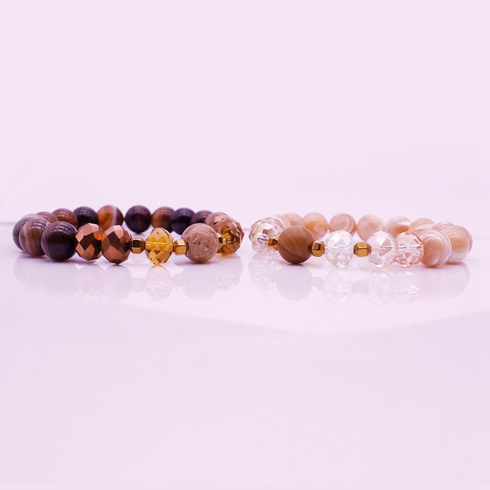 Distance His & Her Couple Bracelet Mix Stone Beads Bracelet Valentine Jewelry