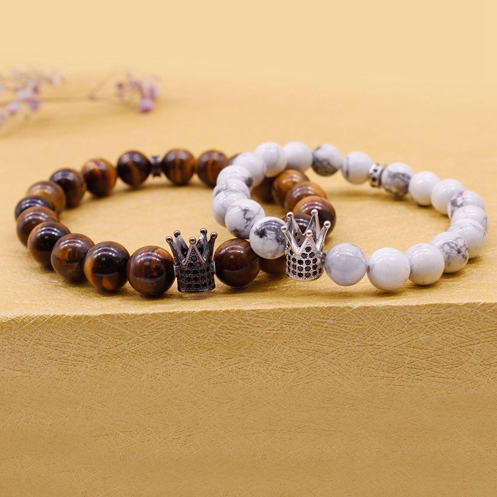 Distance Friend Or His & Her Couple Crown Charms Bracelet Stone Beads Valentine Jewelry
