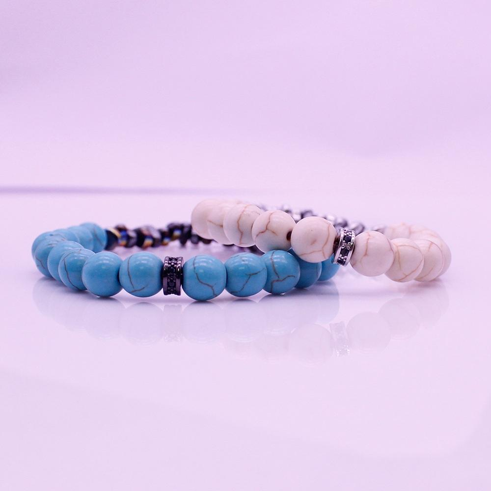 His & Her Couple Bracelet Turquoise Beads And Hematite Chip Bracelet Valentine Jewelry