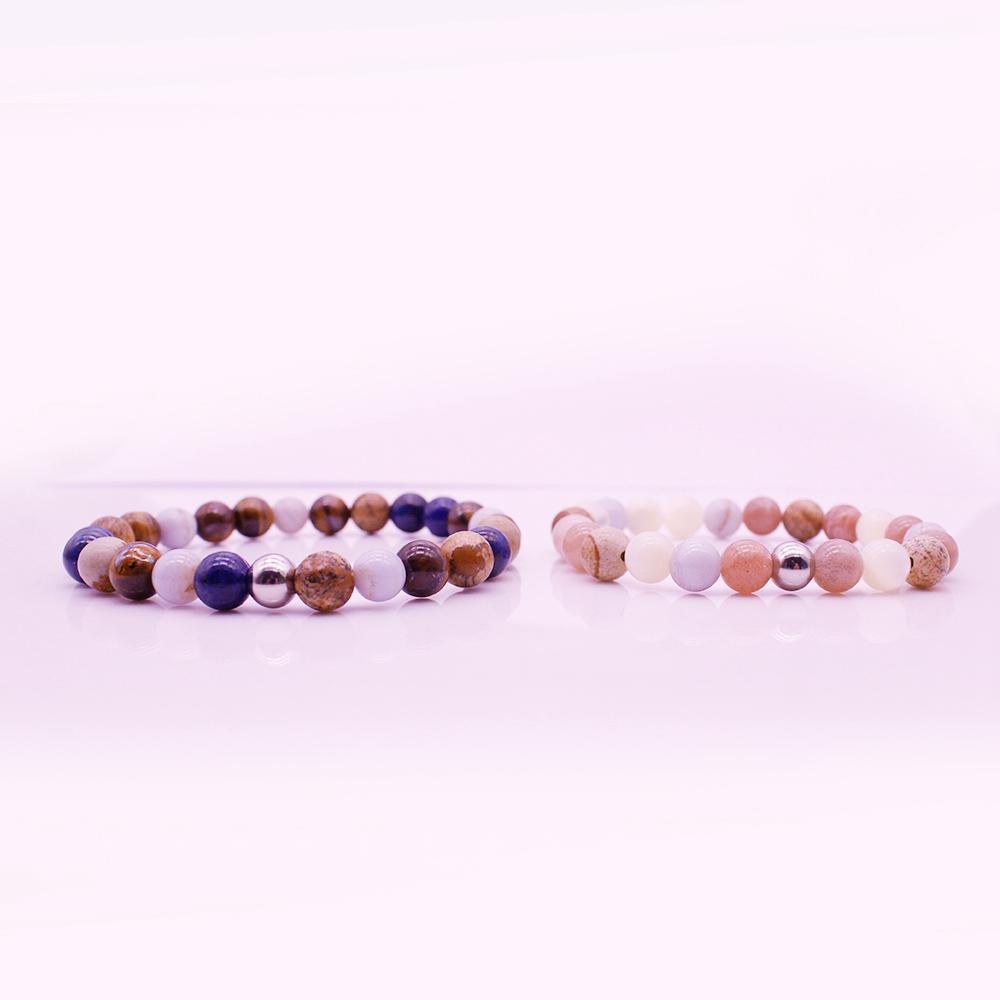 Mix Stone Beads Distance His & Her Couple Bracelet Valentine Jewelry