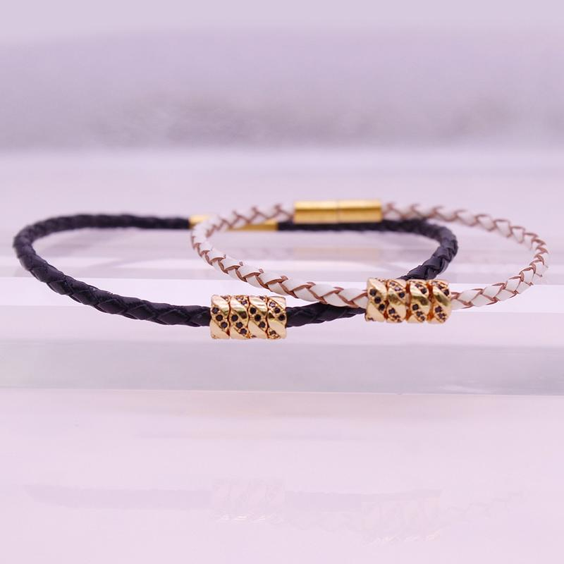 Valentine Jewelry His & Her Leather Bracelet With Copper Charms