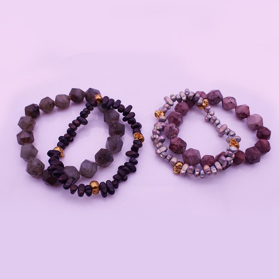 Labradorite Stone Fossil Chips Couple Bracelet Set For Valentine Jewelry