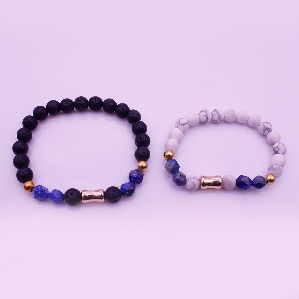 Mix Stone Distance His & Her Couple Bracelet For Valentine Jewelry