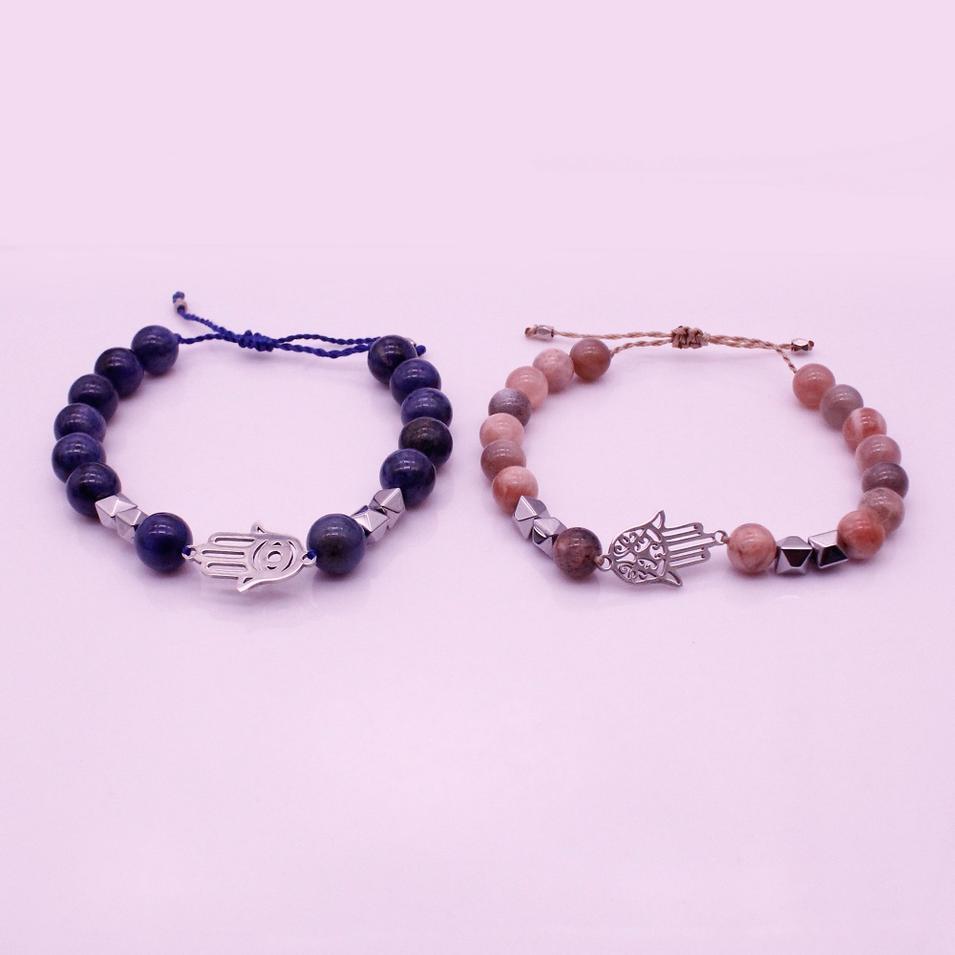 Blue And Sun Stone Hematite Hamsa Hand Distance Couple Bracelet Valentine Jewelry